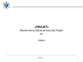 <PROJET>  Réunion de la Cellule de Suivi des Projets du  <Nom>