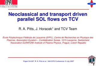 Neoclassical and transport driven parallel SOL flows on TCV