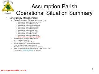 Assumption Parish Operational Situation Summary