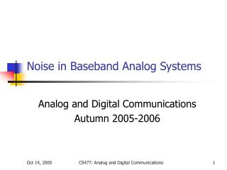 Noise in Baseband Analog Systems