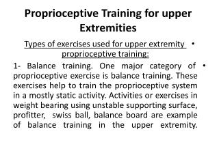 Proprioceptive Training for upper Extremities