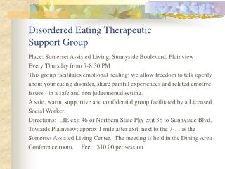 Disordered Eating Therapeutic Support Group