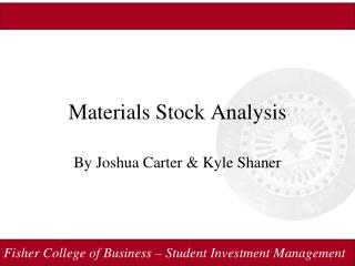 Materials Stock Analysis