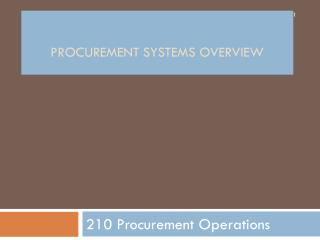Procurement Systems OVerview
