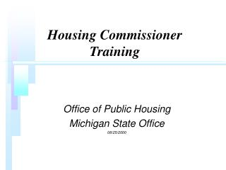 Housing Commissioner Training