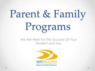 Parent & Family Programs