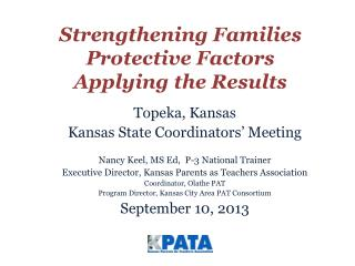 Strengthening Families Protective Factors Applying the Results