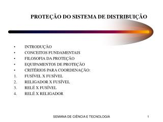 PROTE��O DO SISTEMA DE DISTRIBUI��O