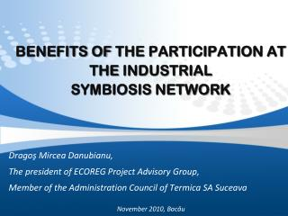 BENEFITS OF the PARTICIPATION at the Industrial Symbiosis Network