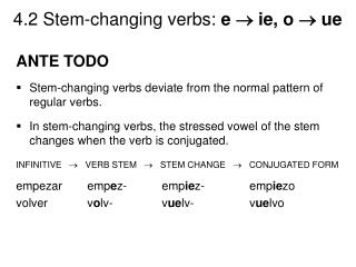 ANTE TODO Stem-changing verbs deviate from the normal pattern of regular verbs.