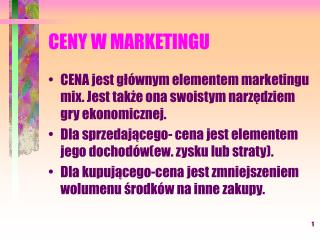 CENY W MARKETINGU