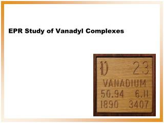 EPR Study of Vanadyl Complexes