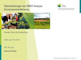 �berarbeitungen der SWOT-Analyse Kurzzusammenfassung