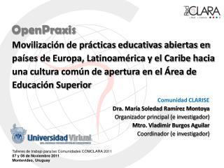 Comunidad CLARISE Dra. María Soledad Ramírez Montoya Organizador principal (e investigador)