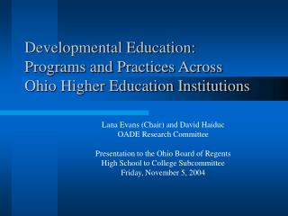 Developmental Education: Programs and Practices Across Ohio Higher Education Institutions
