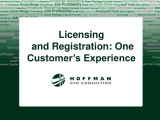 Licensing  and Registration: One Customer's Experience