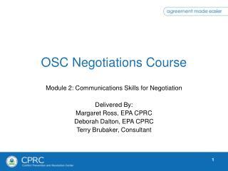 OSC Negotiations Course