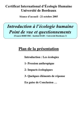 Certificat International d'Écologie Humaine Université de Bordeaux