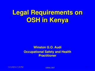Legal Requirements on OSH in Kenya
