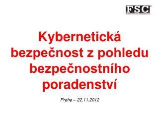 Kybernetická bezpečnost z pohledu bezpečnostního poradenství Praha – 22.11.2012