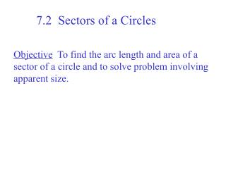 7.2  Sectors of a Circles