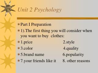 Unit 2 Psychology