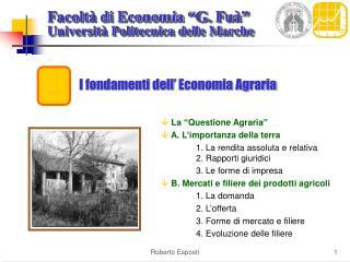 I fondamenti dell' Economia Agraria
