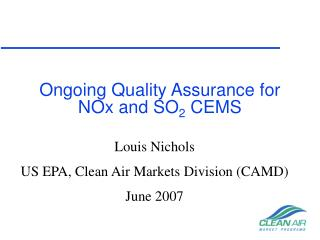 Ongoing Quality Assurance for NOx and SO 2  CEMS