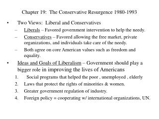 Chapter 19:  The Conservative Resurgence 1980-1993