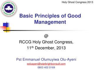 Basic Principles of Good Management