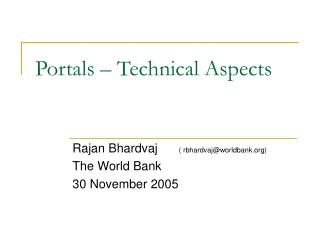 Portals – Technical Aspects