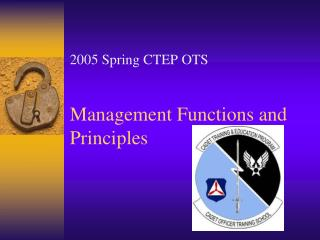 Management Functions and Principles