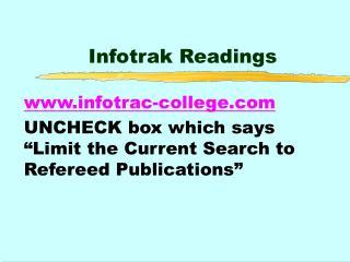Infotrak Readings