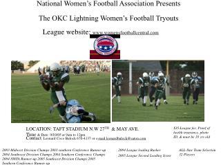 National Women's Football Association Presents  The OKC Lightning Women's Football Tryouts