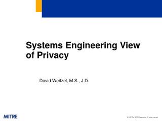 Systems Engineering View of Privacy