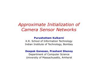 Approximate Initialization of  Camera Sensor Networks