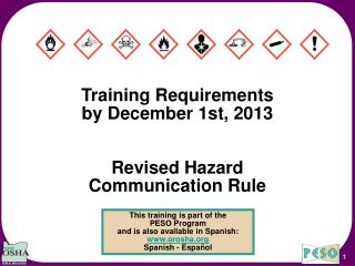 Training Requirements by December 1st, 2013 Revised Hazard Communication Rule