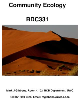 Community Ecology BDC331