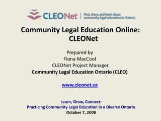 Community Legal Education Online: CLEONet