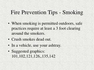 Fire Prevention Tips - Smoking
