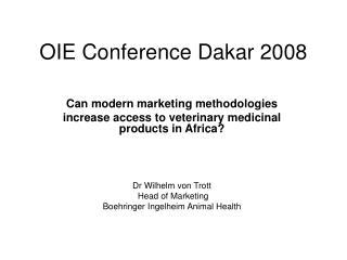 OIE Conference Dakar 2008