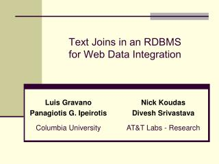 Text Joins in an RDBMS  for Web Data Integration