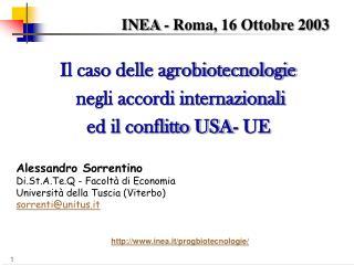 INEA - Roma, 16 Ottobre 2003