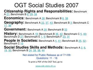 OGT Social Studies 2007