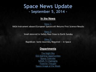 Space News Update - September 5, 2014 -