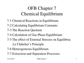 OFB Chapter 7 Chemical Equilibrium