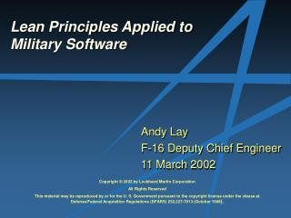 Lean Principles Applied to Military Software