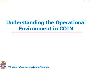 Understanding the Operational Environment in COIN