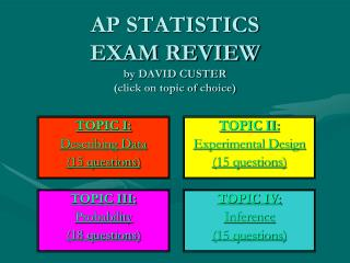 AP STATISTICS EXAM REVIEW by DAVID CUSTER (click on topic of choice)
