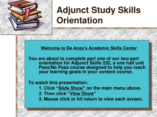 Adjunct Study Skills Orientation